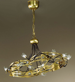 Spirale design forged metal circular chandelier with blown glass details