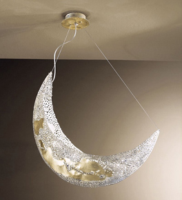 Forme design metal moon shape chandelier that has drill & flame cut details