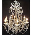 Antique Elegant Coloured Crystal Drop 6 Light Chandelier.