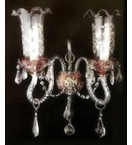 Antique Murano Glass Style 2 Light wall lamp.