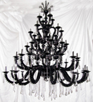 56 Light Black Tiered Glass Chandelier