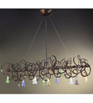 Schizzo Design Horizontal Chandelier With Hand Bent Arms And Blown Glass