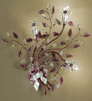 Garden Design Wall Lamp with Hand Worked Leaves and Glass Flowers