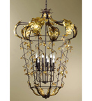 Charms Design Bird Cage Chandelier With Gold Leaf Details