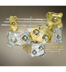 Musica Design silver and gold wall lamp with Swarovski crystal details