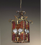 Decó Design metal lantern hand bent chandelier with murano glass details