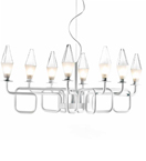 Fifty Design Worked Metal and Prism Glass 8 Light Chandelier
