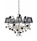 Paris Design Chrome Framed Chandelier with Black Roses