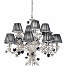 Paris Design Chrome Framed Chandelier with Black Rose Details